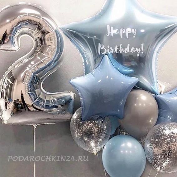 """Фонтан из воздушных шаров """"Нежные звезды"""" на день рождения"""