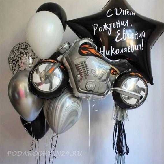 """Фонтан из шаров """"Байк и звезда"""" на день рождения мужчины"""