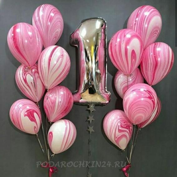 """Фонтан из шаров """"Розовые облака"""" на день рождения"""