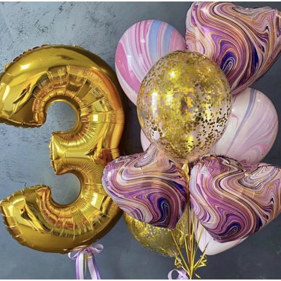 """Сет из воздушных шаров """"Акварель сердец"""" на день рождения"""