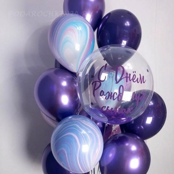 Фонтан воздушных гелиевых шаров на день рождения мальчика или мужчины
