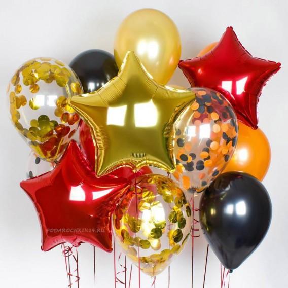 """Фонтан из воздушных шаров  """"Парад красок: красно-золотой"""""""