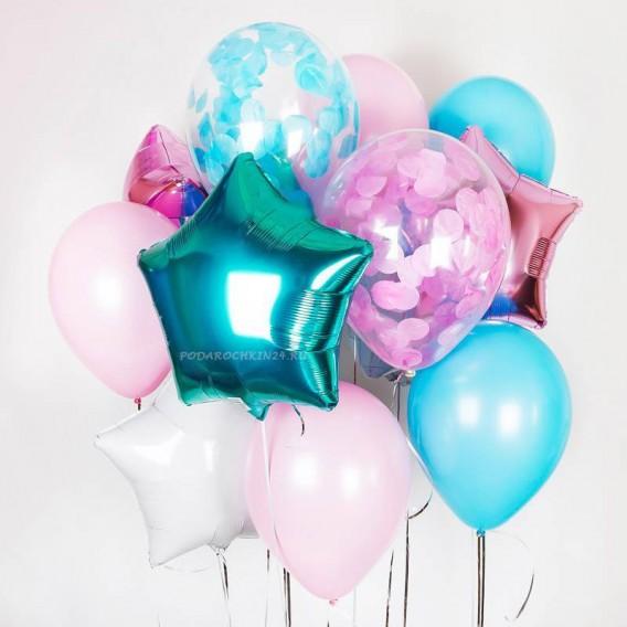 """Набор воздушных шаров """"Парад красок: аква с розовым"""""""