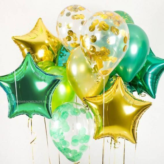 """Набор гелиевых воздушных шаров """"Парад красок: золотисто-зеленый"""""""