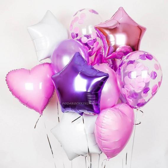 """Фонтан воздушных шаров """"Парад красок: лилово-розовый"""""""