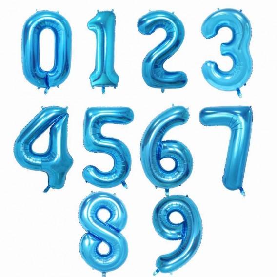 """Воздушный шар фольгированная цифра """"Голубая"""""""