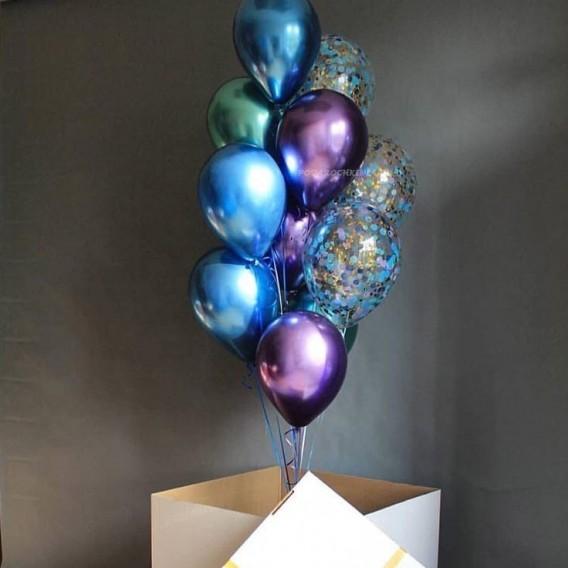 """Коробка-сюрприз с воздушными шарами """"Ослепительная"""" на день рождения"""
