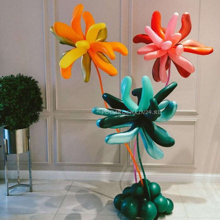 Цветы из шаров в пластике